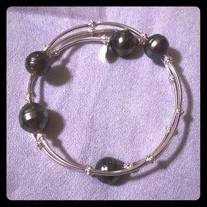 Tahitian pearl wrap bracelet